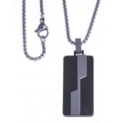 """Collier acier homme - """"plaque"""" - 2 tons - 50cm"""