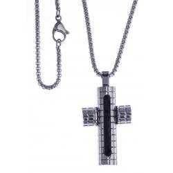 """Collier acier homme - """"croix"""" - email noir - 50cm"""