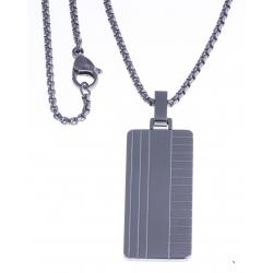 """Collier acier homme - """"plaque"""" -  50cm"""