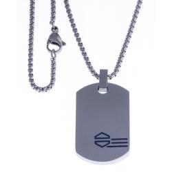 """Collier acier homme - """"plaque"""" - émail bleu - 50cm"""