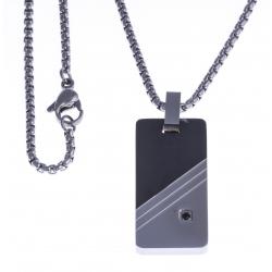 """Collier acier homme - """"plaque"""" - 2 tons - zircon noir - 50cm"""