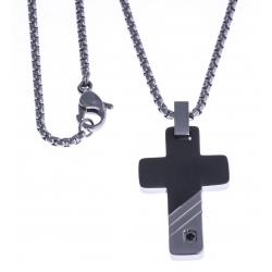 """Collier acier homme - """"croix"""" - 2 tons - zircon noir - 50cm"""