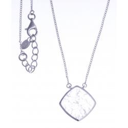 Collier argent rhodié 4g - quartz cristal - 45+3cm