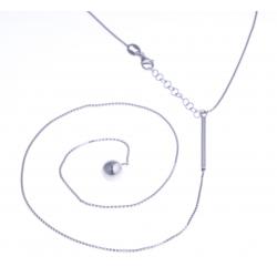 """Collier argent rhodié 5,7g - """"boule pendante à 35cm"""" - 38+3cm"""