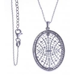 """Collier argent rhodié 5,8g - """"ovale filigrané"""" 42+3cm"""