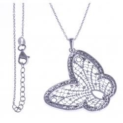 """Collier argent rhodié 6,9g - """"papillon filigrané"""" 42+3cm"""
