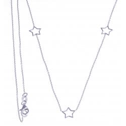 """Sautoir argent rhodié 3,4g - """"étoiles"""" - 90 cm"""