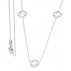 """Sautoir argent rhodié 4,5g - """"fleurs"""" - 90 cm"""