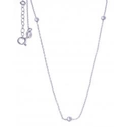 """Collier argent rhodié 1,7g - """"cristaux de Swarovski"""" - 40+3cm"""