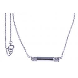 Collier argent rhodié 2,4g - zircons - 45cm