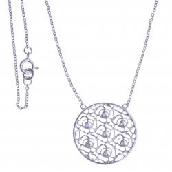 Collier argent rhodié 2,7g - zircons - 45 cm