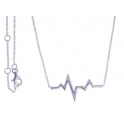 """Collier argent rhodié 2,4g - """"éclair"""" - zircons 42,5+1,5+1,5cm"""