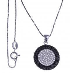 Collier argent rhodié 5,8g - 2 tons - zircons noirs et blancs - 40 cm