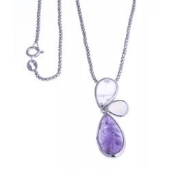 Collier argent rhodié 6g - améthyste - quartz rose - calcédoine teintée - 45cm