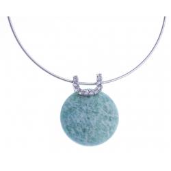 Collier argent rhodié 6,9g - amazonite - zircons - 38+5cm