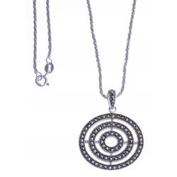 Collier argent rhodié 6g - marcassites - 40cm