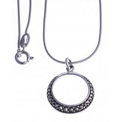 Collier argent rhodié 3,7g - marcassites - 40cm