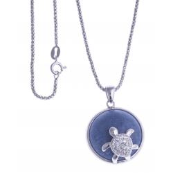 """Collier argent rhodié 8,1g - """"tortue"""" - quartz bleu - zircons - 45cm"""