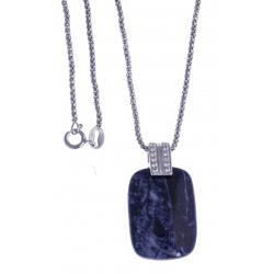 Collier argent rhodié 4,3g - sodalite - zircons - 45cm