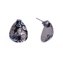"""Boucles d'oreille acier - """"papillon"""" - nacre - émail"""
