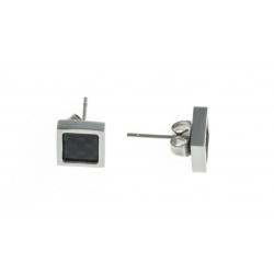 Boucles d'oreille acier homme - fibre de carbone - 8x8mm