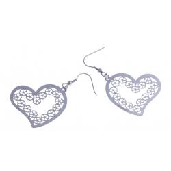"""Boucles d'oreille acier - """"coeur"""""""