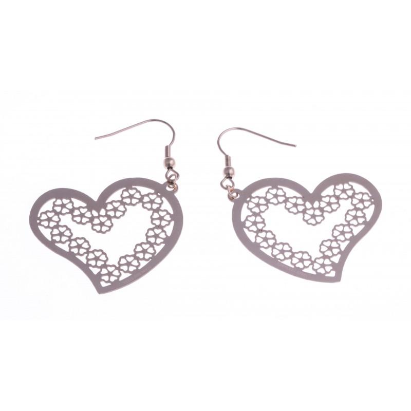 boucles d 39 oreille acier ros coeur les perles de v nus. Black Bedroom Furniture Sets. Home Design Ideas