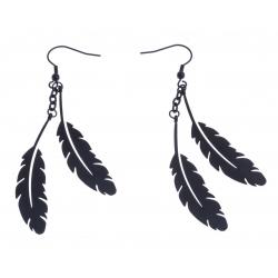 """Boucles d'oreille acier noir - """"plume"""""""
