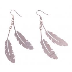 """Boucles d'oreille acier rosé - """"plume"""