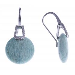 Boucles d'oreille argent rhodié 2,9g - amazonite - zircons
