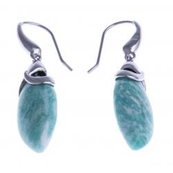Boucles d'oreille argent rhodié 3,2g - amazonite