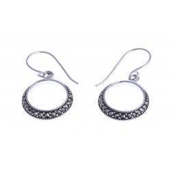 Boucles d'oreille argent rhodié 4,8g - marcassites