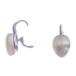 Boucles d'oreille argent rhodié 1,8g - pierre de lune