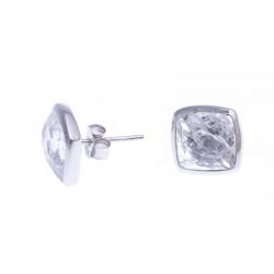 Boucles d'oreille argnet rhodié 2,2g - quartz cristal