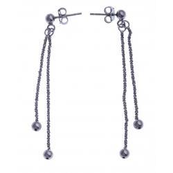 """Boucles d'oreille argent rhodié noir 2,4g - """"2 fils"""" - """"pendantes 4"""