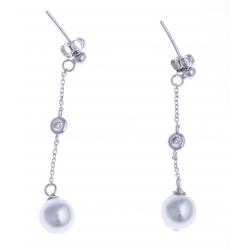 Boucles d'oreille argent rhodié 2,7g - zircons - perles imitation