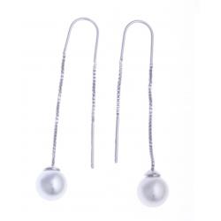 Boucles d'oreille argent rhodié 2,4g - perles imitation