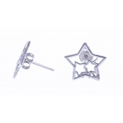 """Boucles d'oreille argent rhodié 1,1g - """"étoile"""""""