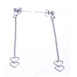"""Boucles d'oreille argent 1,7g - """"2coeurs"""" - chaine 5cm"""
