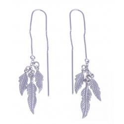 """Boucles d'oreille argent rhodié 5,8g - """"3 plumes"""" - pendantes - chaine"""
