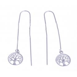 """Boucles d'oreille argent rhodié 2,7g - """"arbre de vie"""" - pendantes - cha"""