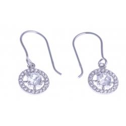Boucles d'oreille argent rhodié 1,9g - zircons