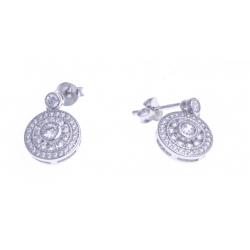 Boucles d'oreille argent rhodié 2,7g - zircons