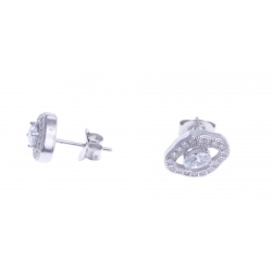 Boucles d'oreille argent rhodié 2,4g - zircons