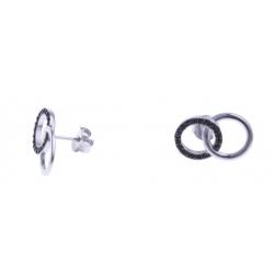 """Boucles d'oreille argent rhodié 2,2g - """"2 ronds"""" - zircons"""