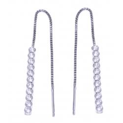 Boucles d'oreille argent rhodié 1,3g - zircons - chaine 5cm