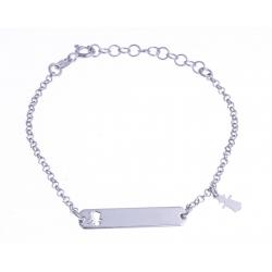 """Bracelet argent rhodié 1,6g - """"mère fille"""" - 14+3cm"""