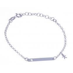 """Bracelet argent rhodié 1,6g - """"mère fils"""" - 14+3cm"""