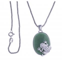 Collier argent rhodié 6,9g - grenouille - aventurine verte - zircons - 45cm