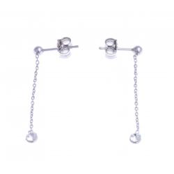 """Boucles d'oreille argent rhodié 0,8g - """"cristal de Swarovski"""" - chaine"""